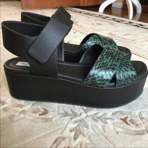 Max Mara croc embossed leather platform sandals